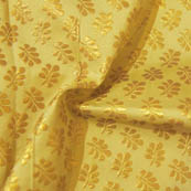 Yellow and Golden Leaf Pattern Brocade Silk Fabric-8016
