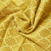 Yellow and Golden Unique  Shape Brocade Silk Fabric-8030