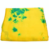 Yellow and Green Batik Satin Fabric-32014