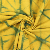Yellow and Green Cotton Shibori Tie Dye Fabric-14404
