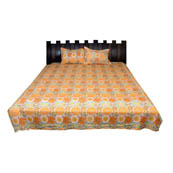 Yellow and Orange Floral  Rajasthani Cotton Double Bed Sheet-0D49