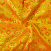 Yellow and Orange Square Pattern Brocade Silk Fabric-8004