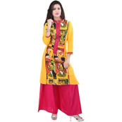 Yellow and Pink 3/4 Sleeve Printed Rayon Kurti-3079