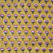 Yellow and Purple Floral Pattern Block Print Cotton Fabric by the yard