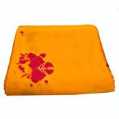 Yellow and Red Batik Satin Fabric-32008