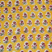 Yellow and Red Flower Pattern Block Print Cotton Fabric by the yard