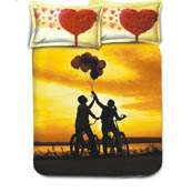 Yellow and Red Print Cotton Double Bed Sheet -0HH61