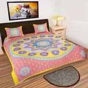 Yellow and Red Star design printed Bedsheet with 2 Pillow Covers