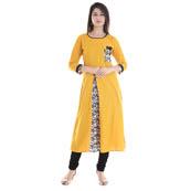 Yellow and White 3/4 Sleeve Front Slit Rayon Kurti-3052