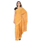 Yellow and White Leaf Design Cotton Block Print Saree-20123