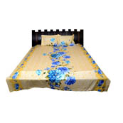 Yellow and sky Blue Rajasthani Cotton Double Bed Sheet-0D31