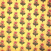 Yellow pink flower Cotton Fabric