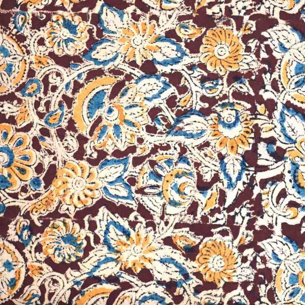 beautiful Hand painted Kalamkari Flower Indian Cotton Fabric