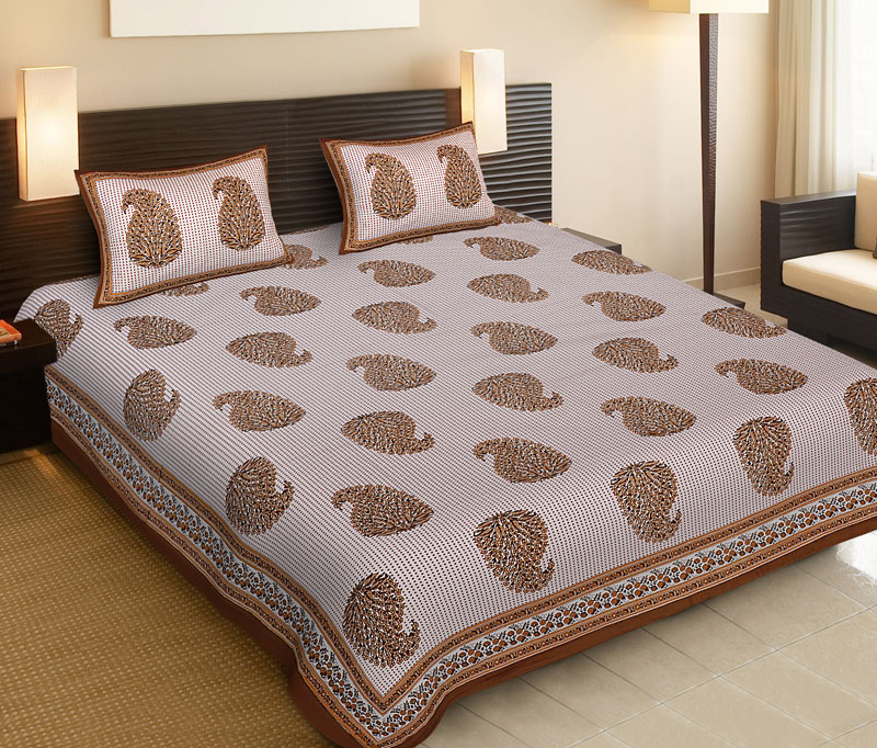 beige Brown Cotton Jaipuri Bedsheet-515