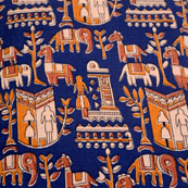 beige-Orange and Blue Forest Pattern Kalamkari-Screen Fabric-5494