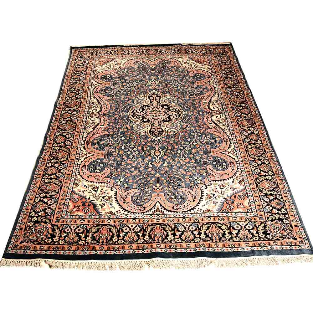 Black/blue/cream 6*9 Persian Hand Knotted Wool Rug