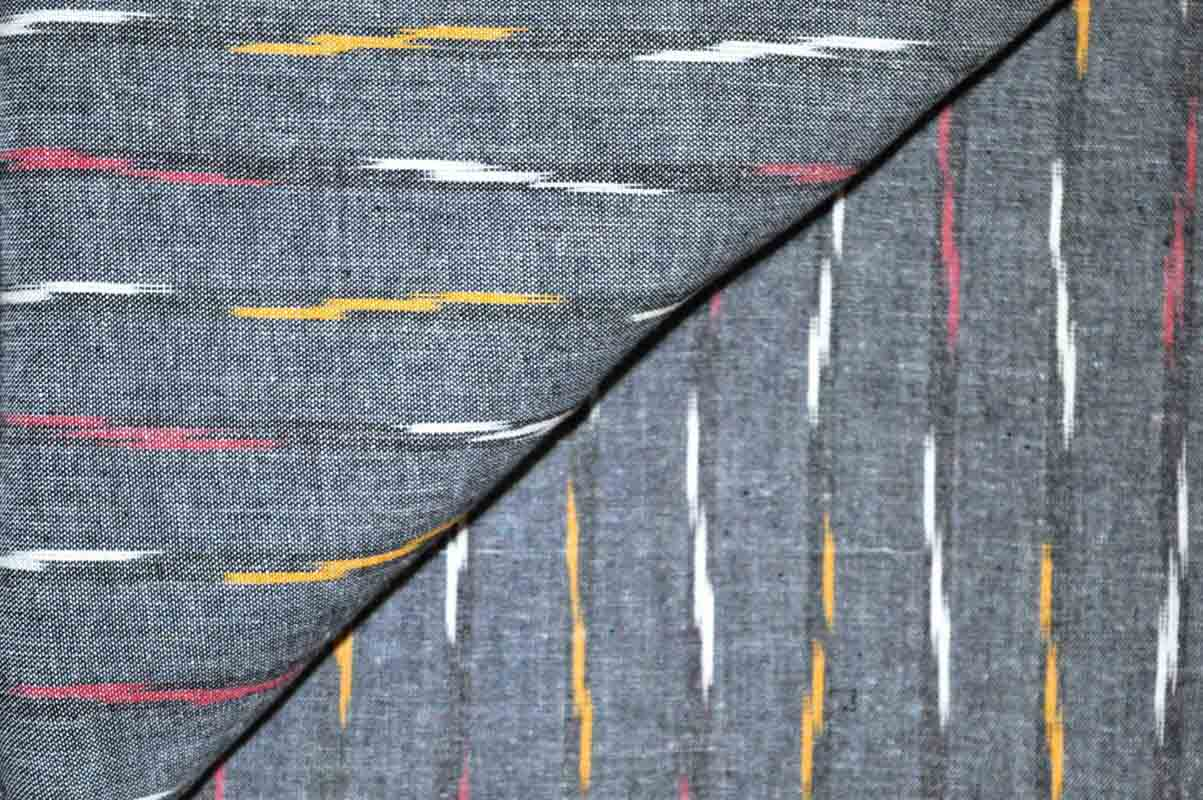 Charcoal grey Ikat Fabric
