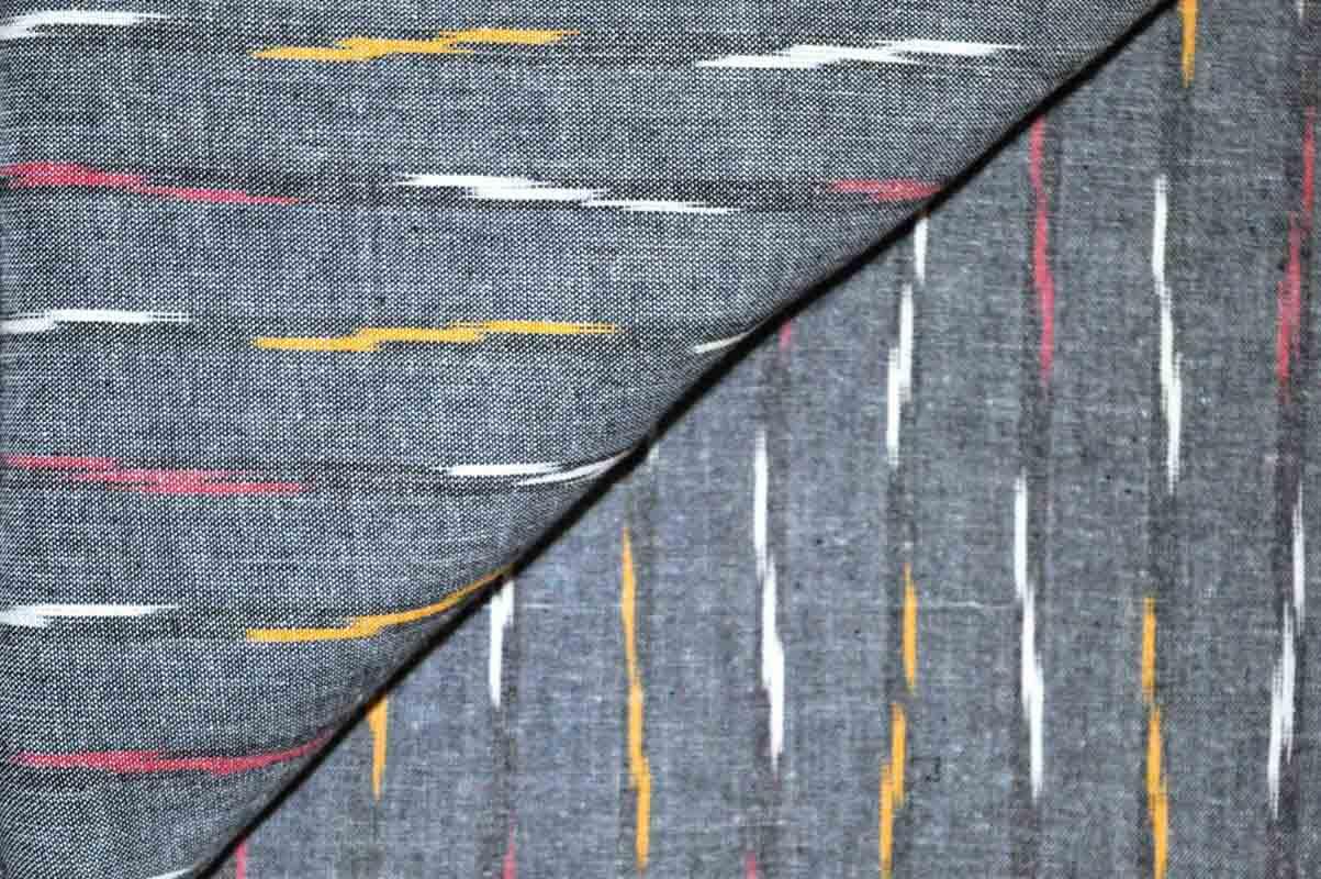 Charcoal grey Ikat Fabric
