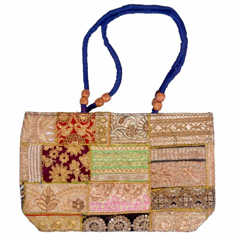 Ethnic Golden Zari Work Shoulder Bag