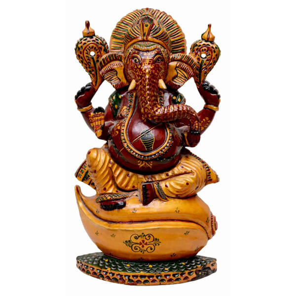 handcarved and handpainted teak wood ganesha