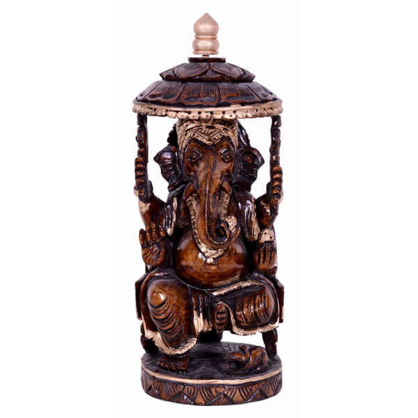 Hanpainted teak wood ganesha Sclupture