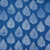 indigo blue and white leaf printed cotton block print fabric-4573