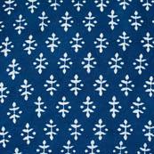 indigo blue and white leaf style block print fabric-4580