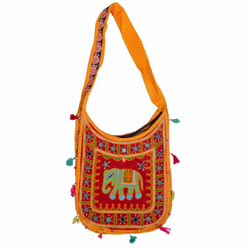 Maroon Embroidered Ari Elephant Pattern U Shoulder Bag
