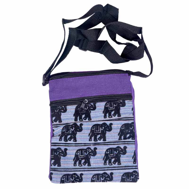Purple And Black Elephant Print Sling Bag