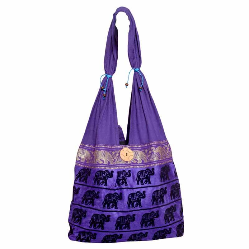 Purple Elephant Print Shoulder Bag