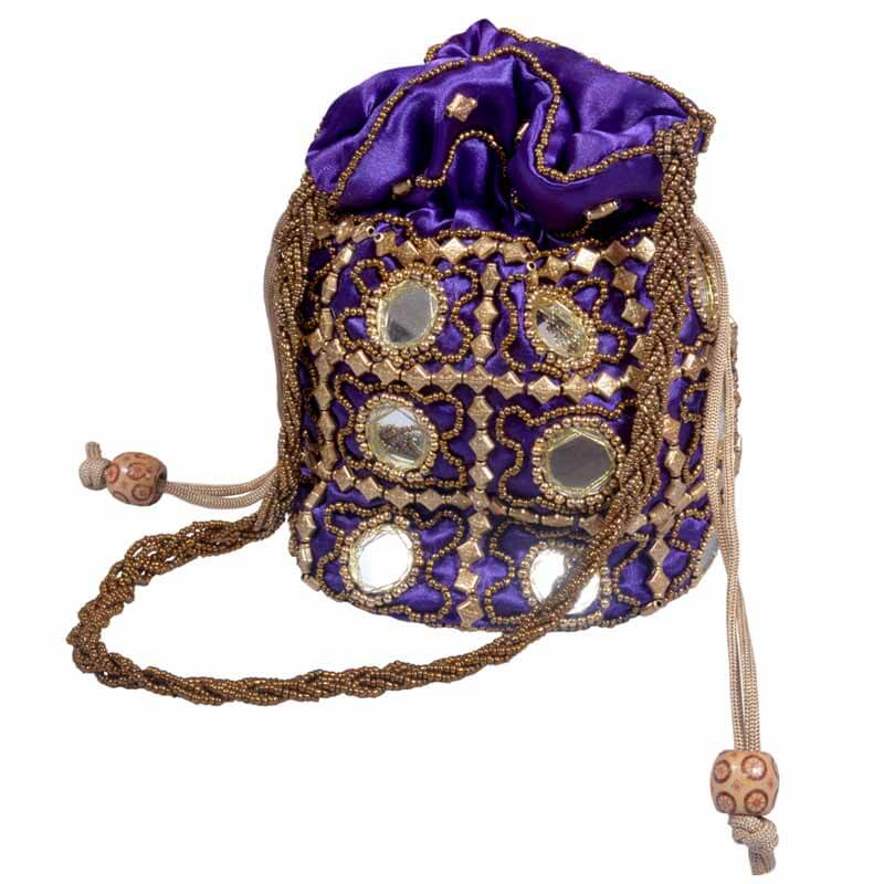 Purple Multi Potli With Mirror Work