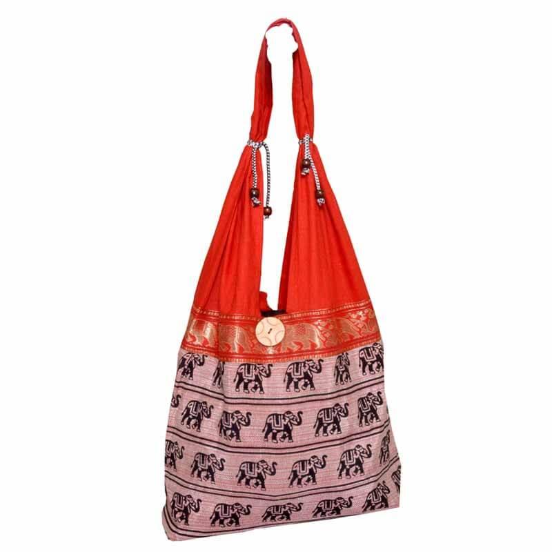 Red Elephant Print Shoulder Bag