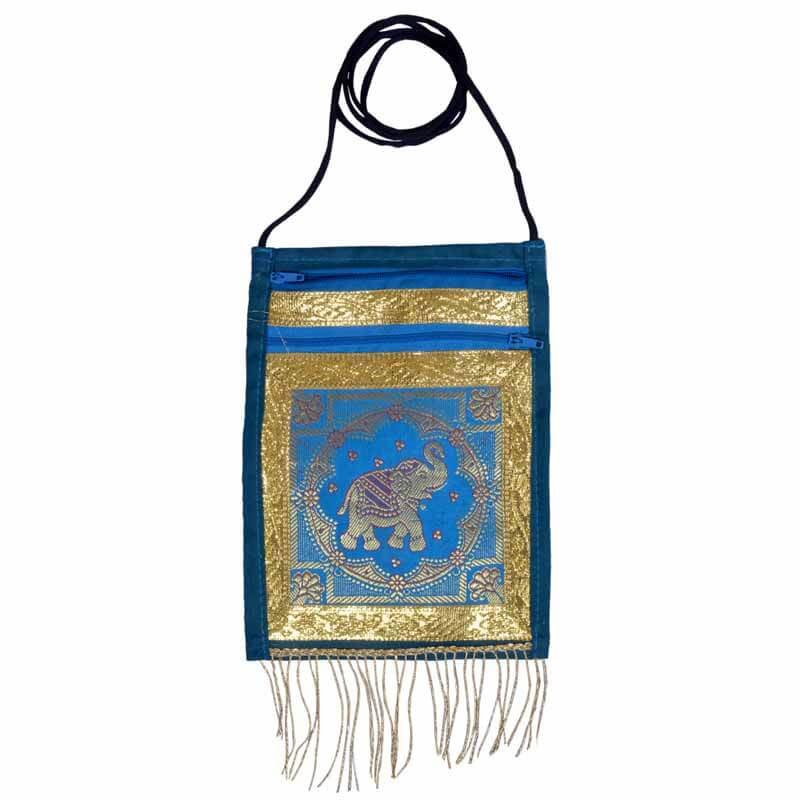 Skyblue And Gold Elephant Hand Embroidered Bag