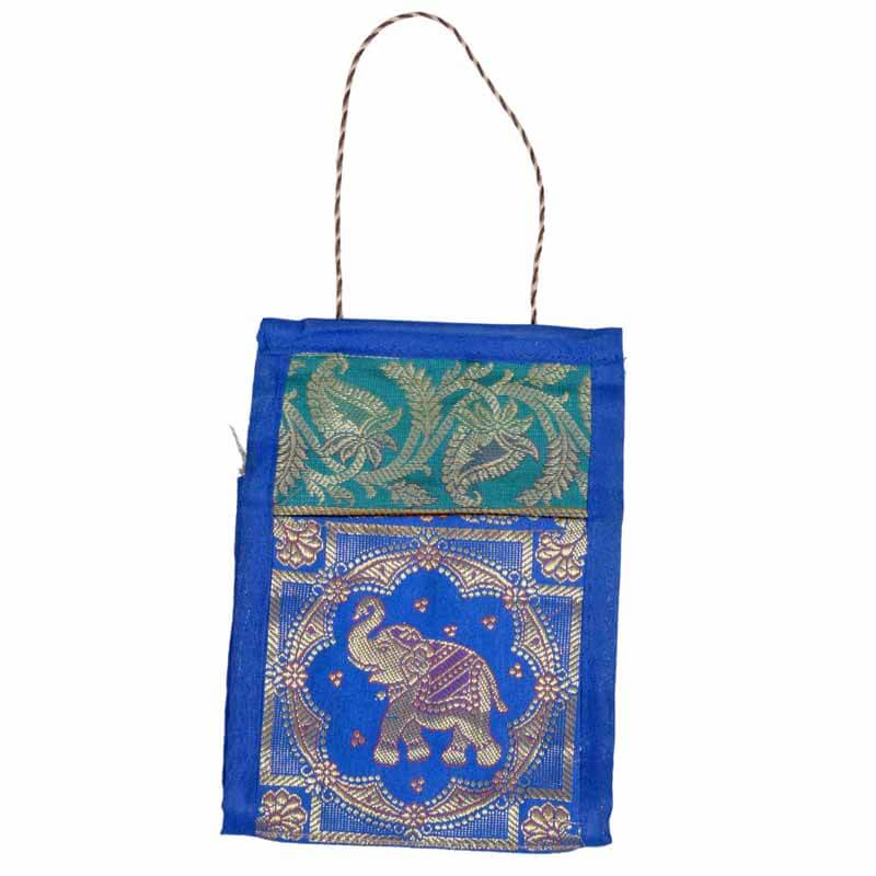 Skyblue Elephant And Paisley Hand Embroidered Bag