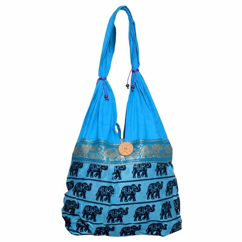 Skyblue Elephant Print Shoulder Bag