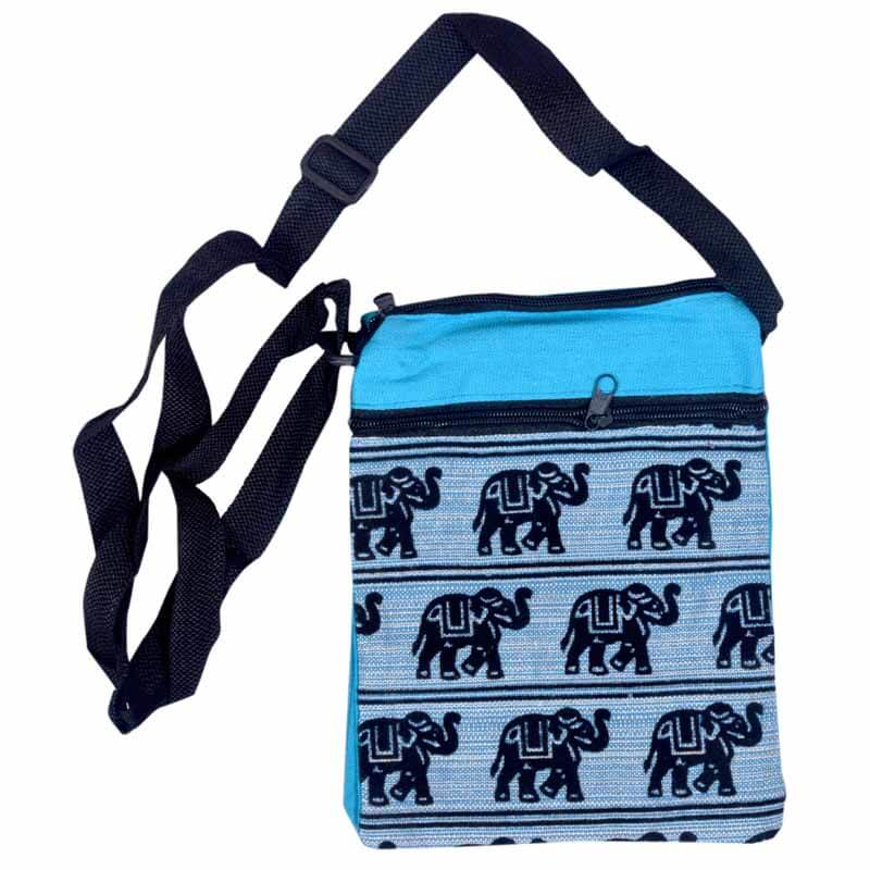 Skyblue Elephant Print Sling Bag