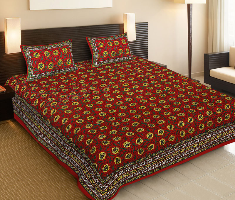 yellow Red Cotton Jaipuri Bedsheet-518